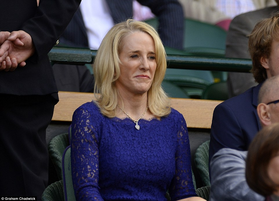 Expert: The BBC's Tracy Austin sits in the Royal Box as Williams and Muguruza battle in the first set of the ladies' final