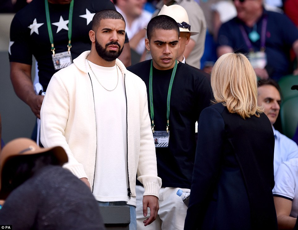 Lucky charm: Rapper Drake arrived in a white hooded sweatshirt to watch his friend as she bids for her sixth Wimbledon title
