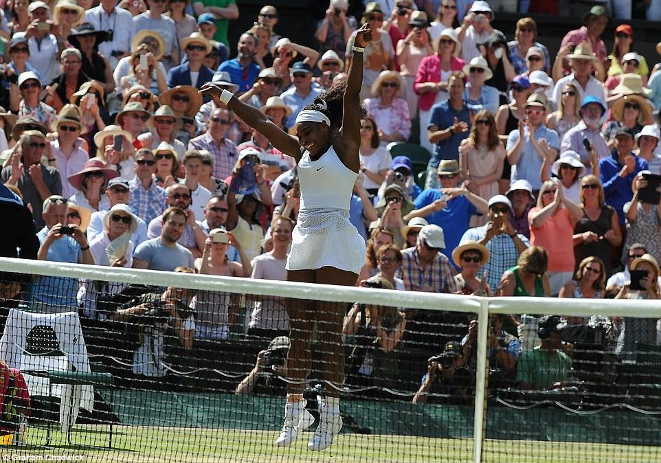 Jump for joy: Serena Williams reacts after defeating Spaniard Garbine Muguruza today at Wimbledon, to claim her sixth Wimbledon win