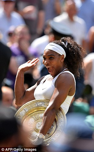 The 33-year-old celebrated on Centre Court with her plate