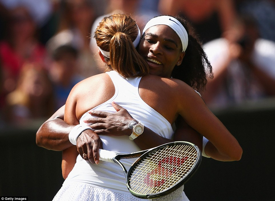 Gracious: The pair embraced one another after the match which lasted just one hour and 23 minutes on Saturday afternoon