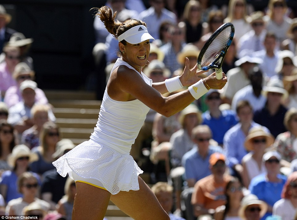 Strain: Muguruza had a promising start, winning the first few games of the first set and breaking her opponent's serve