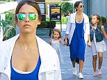 12.JULY.2015 - LOS ANGELES - USA *** EXCLUSIVE ALL ROUND PICTURES STRICTLY AVAILABLE FOR UK AND GERMANY USE ONLY *** AMERICAN ACTRESS JESSICA ALBA TAKES HER DAUGHTERS HAVEN AND HONOR TO THE GROVE IN LOS ANGELES. JESSICA HELD HANDS WITH HER GIRLS IN A BLUE DRESS AND WHITE COAT WHILE LITTLE HONOR LOOKED ADORABLE IN A DENIM VEST, A WHITE DRESS AND PEEP TOE SANDALS. HER LITTLE SISTER HAVEN WORE A CUTE LITTLE DRESS WITH POLKA DOT SANDALS. BYLINE MUST READ : XPOSUREPHOTOS.COM ***UK CLIENTS - PICTURES CONTAINING CHILDREN PLEASE PIXELATE FACE PRIOR TO PUBLICATION *** *UK CLIENTS MUST CALL PRIOR TO TV OR ONLINE USAGE PLEASE TELEPHONE 0208 344 2007*