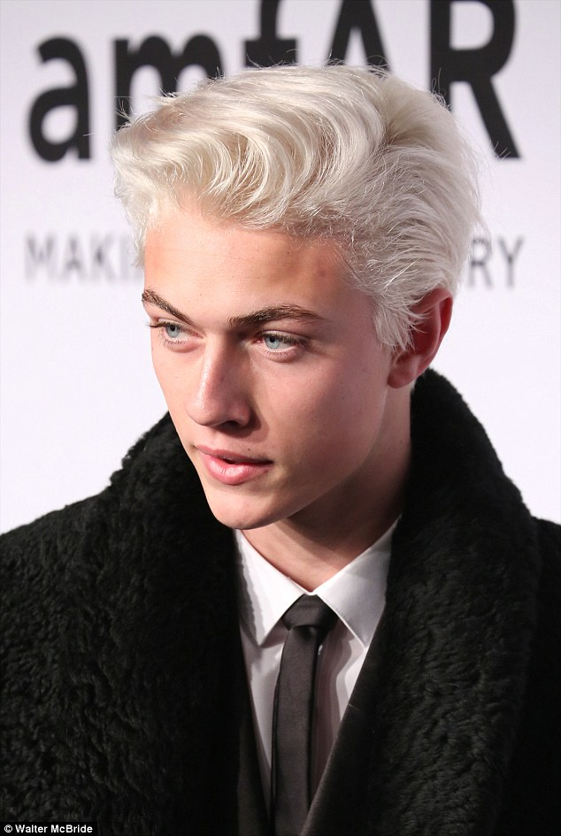 Striking: Lucky Blue Smith, 17, has appeared in campaigns for Tom Ford and Tommy Hilfiger. He plays the drums in the band