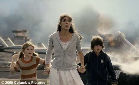 Worried: A scene from the Hollywood disaster movie 2012, which prompted Birkhead to set up a bomb making factory to protect his family