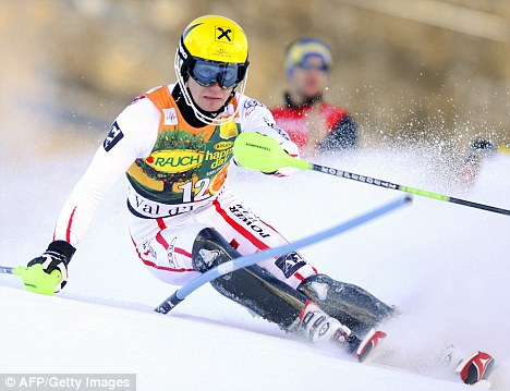 Looking good: Hirscher on the way to victory in the men's slalom in Val d'Isere