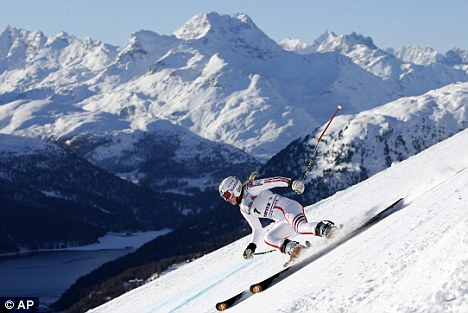 What a fabulous sight: Tessa Worley of France speeds down the course in St Moritz