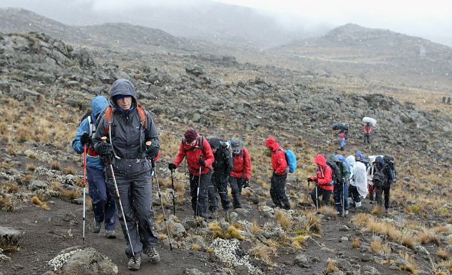 Leader of the pack: Martina Navratilova and her team encounter snowy weather in Mount Kilimanjaro to raise money for the Laureus Sport for Good Foundation