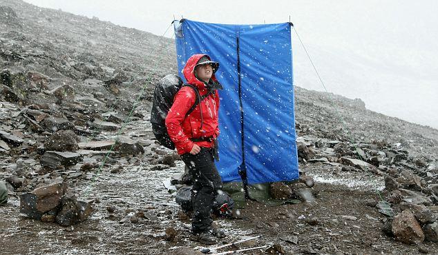 Glamorous huh? British badminton player Gails Emms waits to use the toilet at high camp on Kilimanjaro