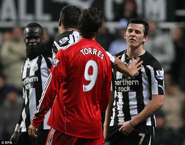 Taunts: Newcastle's Joey Barton was involved in a spat with Liverpool's Fernando Torres