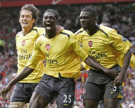 Back in the day: Arsenal last won at Old Trafford in 2006 after a late Adebayor strike