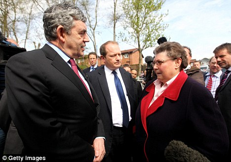 Bigot-gate: Then-Prime Minister Gordon Brown talks with Gillian Duffy on April 28, 2010 in Rochdale, England as he campaigned during the general election. He later called her a bigot - not realising that his Sky News microphone was still on