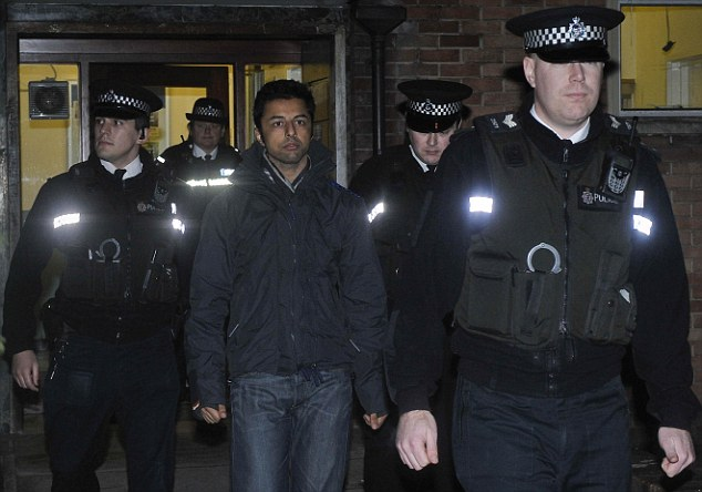 Checking in: Shrien Dewani reports to Southmead police station in Bristol yesterday as part of his bail conditions. He is facing further accusations concerning the killing of his wife