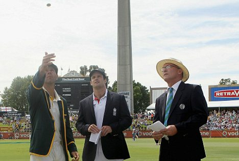 Coining it in: Ricky Ponting loses the toss and Andrew Strauss decides to have a bowl