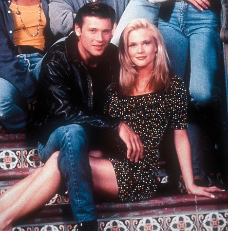 Former Fame; Locane as Sandy with Melrose Place co-star Grant Show back in 1992