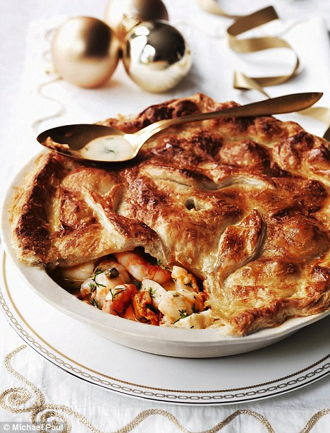 Luxury seafood pie with a parmesan crust