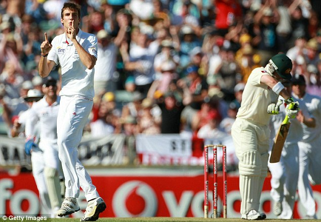 Silence the critics: Finn's in the wickets and he makes sure the Aussie fans know about it