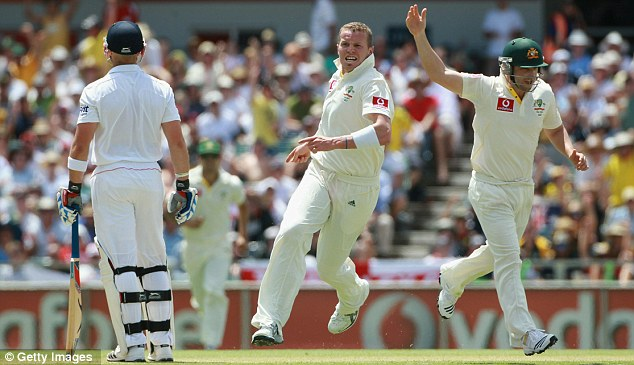 Siddle do nicely: prior drags the ball down onto his wicket and the Aussies have another England scalp