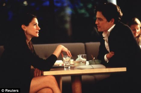 Score: Julia Roberts and Hugh Grant in a scene from Notting Hill. The music for the movie was composed by Trevor Jones
