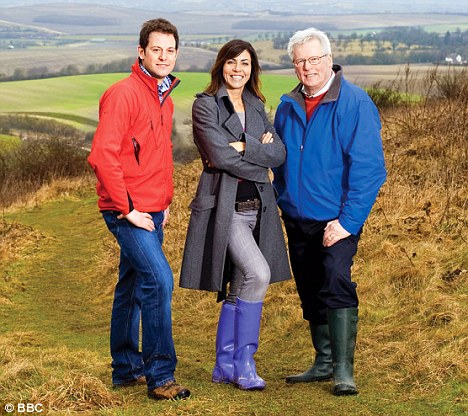 Wrapped up warm: Julia with Countryfile co-hosts Matt Baker and John Craven