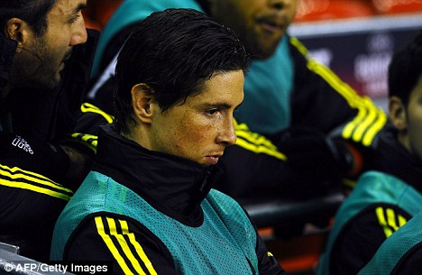 Benched all night: Fernando Torres had to endure a dreary 0-0 draw