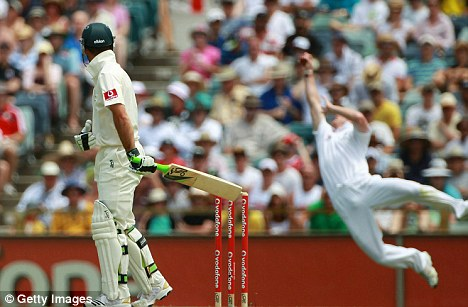 One-handed wonder: Paul Collingwood makes an astonishing catch to dismiss Ricky Ponting