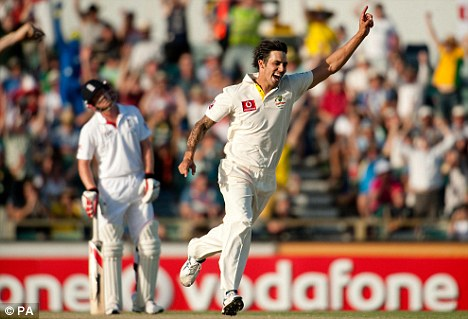 Highly charged: Mitchell Johnson's tail is up after eight wickets - and 63 runs - so far in Perth