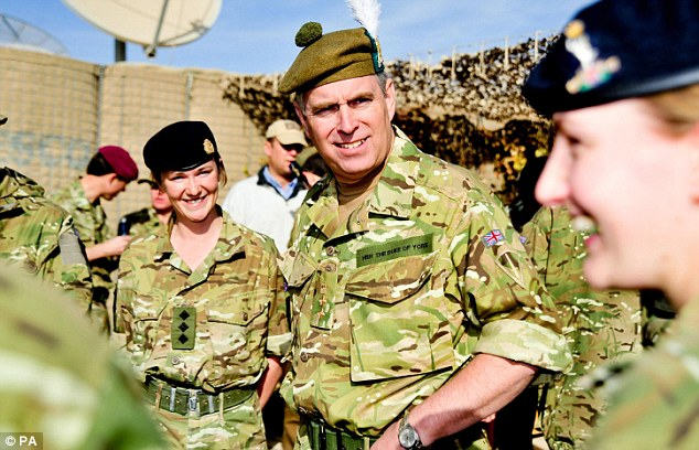 All kitted out: the Duke of York wore army gear when he visited military and civilian personnel serving in the Brigade Headquarters