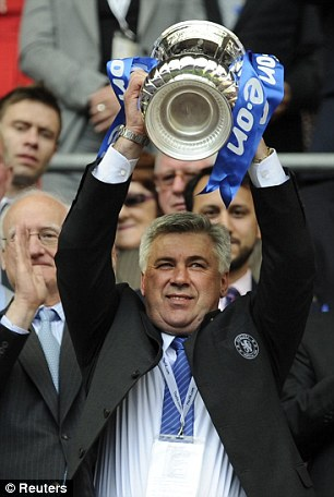 Make mine a Double: Chelsea manager Carlo Ancelotti lifts the FA Cup aloft