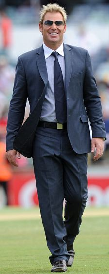 Shane Warne at the WACA cricket ground in Perth, Australia, where he is commentating on the Ashes series against England