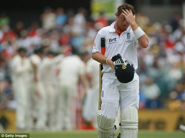Much to ponder: Ian Bell walks off after his dismissal lbw to Harris for just 16