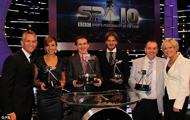 Uninspiring evening: Gary Lineker, Jessica Ennis, Tony McCoy, David Beckham, Phil Taylor and Sue Barker pose during Sunday's BBC Sport Personality of the Year Awards