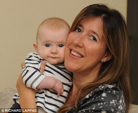 Special delivery: Claire believes intralipids - a mix of soya-bean oil, egg yolk, glycerine and water - helped her conceive