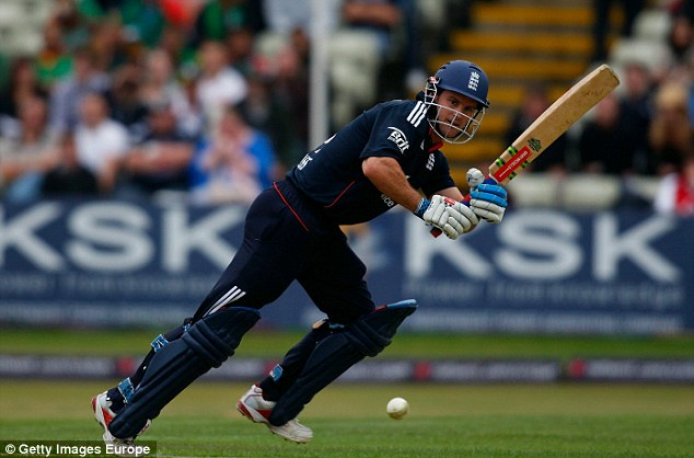 Record-breaking: England captain Andrew Strauss hits a boundary during his stand with Jonathan Trott at Edgbaston