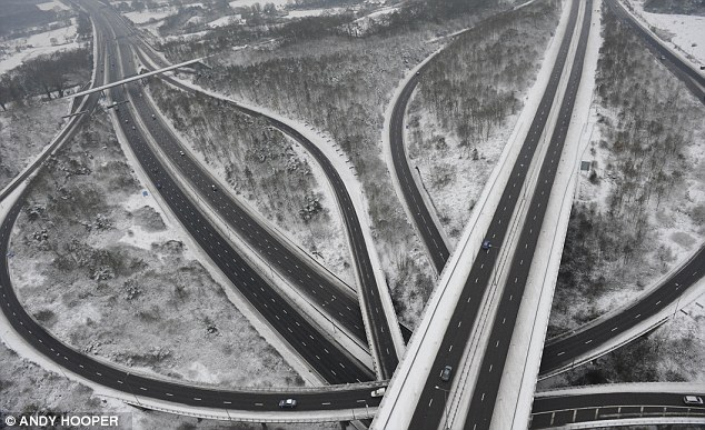 Deserted: With some roads clogged for miles other parts of the motorway network looked like the apocalypse had arrived