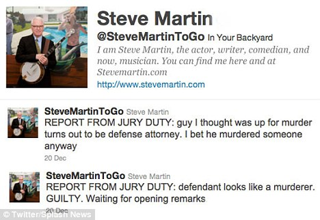 All a Twitter: Steve Martin tweets a series of hilarious messages claiming to be inside a courtroom