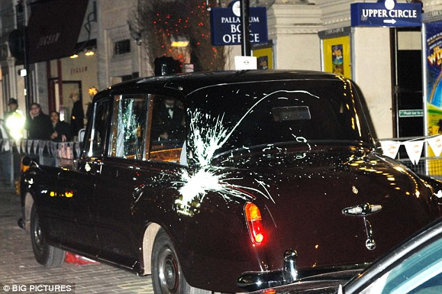 Damaged: The royal car splattered with paint during the attack in London's Regent Street