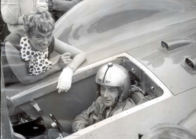 Tragic: Donald Campbell's wife Tonia Bern leans on the fairing to talk with her husband in the narrow cockpit of the new Bluebird, which was shown to the public for the first time in Goodwood, Sussex