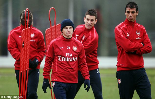 Arsenal's (from left) Bacary Sagna, Andrey Arshavin, Laurent Koscielny and Marouane Chamakh in training