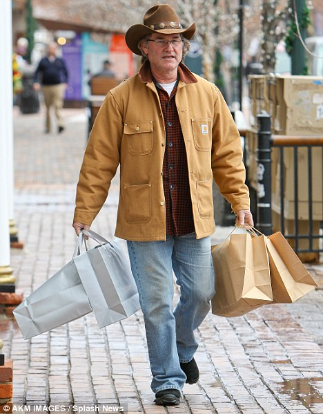 Yeehaw! Kurt Russell is all cowboy as he did last-minute Christmas shopping in Aspen yesterday