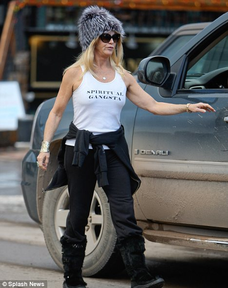 Brave: Goldie Hawn, who is also on holiday in Aspen wore a white 'spiritual gangsta' vest despite the freezing temperatures