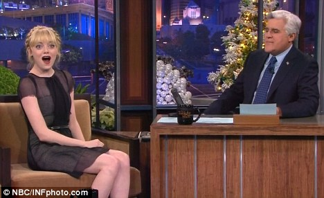 Not so easy: The actress joked and laughed her way through her chat with Jay Leno on The Tonight Show