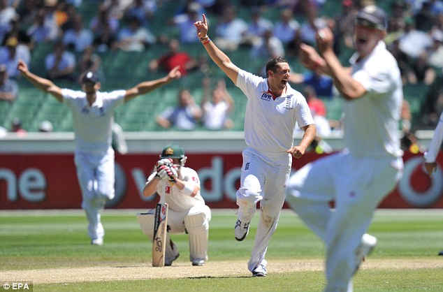 All over: Brad Haddin shows his dejection at the final wicket as Tim Bresnan has Ben Hilfenhaus caught behind by Matt Prior