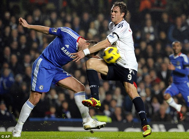 Grapple: Johan Elmander (right) and John Terry furiously tussle for the ball