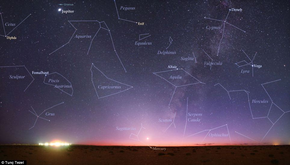 The night sky over the Libyan desert. Jupiter is the brightest spot in the sky