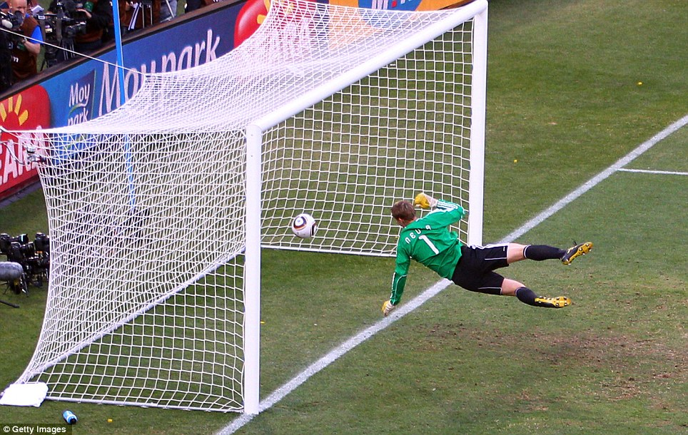 Germany keeper Manuel Neuer watches the ball bounce over the line from Frank Lampard's shot for England at the World Cup in Bloemfontein, South Africa