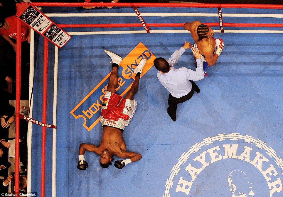 Sportsmail's Graham Chadwick captured this bird's eye view of David Haye knocking out Audley Harrison at the MEN Arena in Manchester