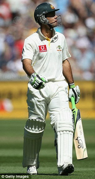 Long walk home: Ricky Ponting after his second innings dismissal