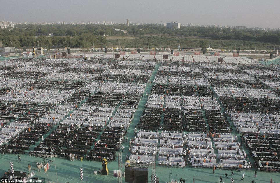 Feat: The giant chessboard effect at the GMDC ground was made using 64 blocks of different coloured tables