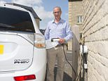 fmos3 CLIVE MESSENGER, who uses his hybrid car to commute to work at minimal cost.  Recharging the electric battery from a plug on the side of his house costs c.£1 which allows him to commute without using any petrol in his Mitsubishi Outlander. Cirencester, Glouscestershire. 8-7-2015 ©Pic by Ian McIlgorm 2015